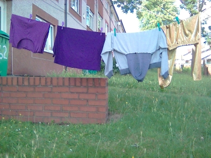 Clothes on a wire whilst / while in Nottingham City, England 07/2019